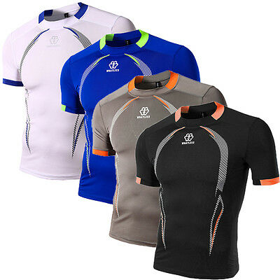 Plain New Mens T-Shirt Compression Base Layer Sports Tops Cycling Jersey Gym Tee