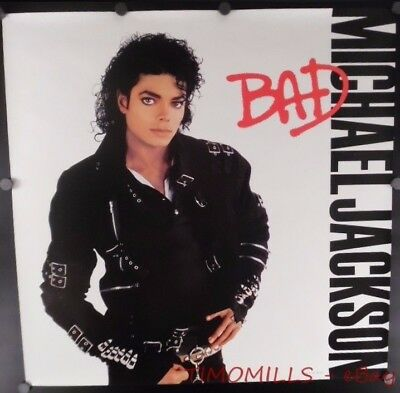 1987 Michael Jackson Bad CBS Inc Record Store Promo Poster Vintage Original VG