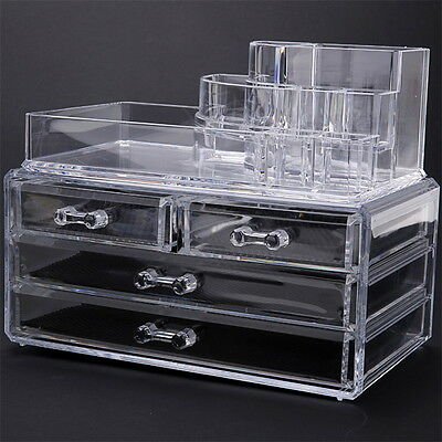 Clear Cosmetic Organizer Jewelry Storage Acrylic Cabinet Box Makeup Case  Drawers