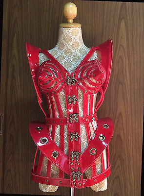 Red Cage With Metal Studs Madonna Inspired Diva Drag Queen Showgirl Dance Dress
