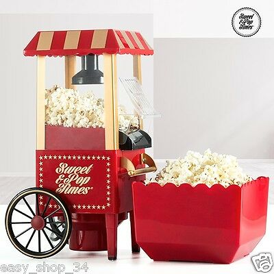 Popcorn Machine Maker on Wheels Pop Corn Vintage Retro Style Red Home Use New
