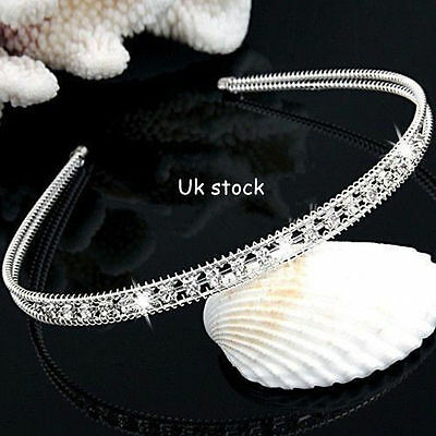 Bridal Bridesmaid Crystal Rhinestone Headband Silver Tiara Wedding Crown Prom