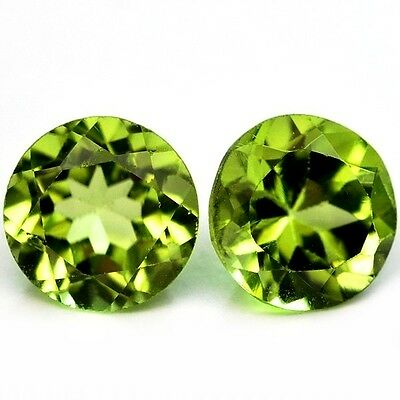 NATURAL AWESOME GREEN PERIDOT LOOSE GEMSTONES (PAIR mm) ROUND SHAPE (6.0 mm)