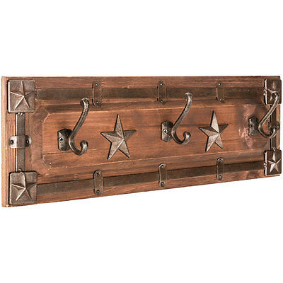 Rustic Brown Western Star Coat Rack Country Charm Home Decor     COUNTRY WESTERN