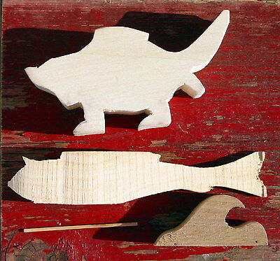 2 Wood Carving Cutouts Blanks, Dogfish & Catfish, Basswood Blanks Patterns Carve