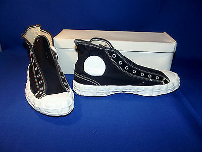 Vtg 1970s Patriot Tenax High Tops Sneakers Boys Size 4 Black New Old Stock USA