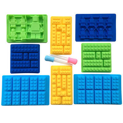 10-Piece Lego Silicone Candy Molds Set Blocks and Robots with Easy Fill Droppers
