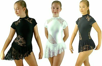 White Black Navy-Blue Lace Lyrical Ballet Modern Dance Costume - 6 8 10 12 14