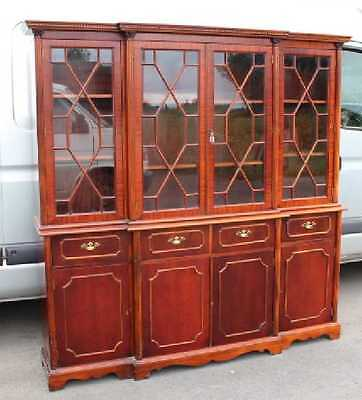 Large 4 Door Breakfront Mahogany Boookcase with Glazed Top Display sections.