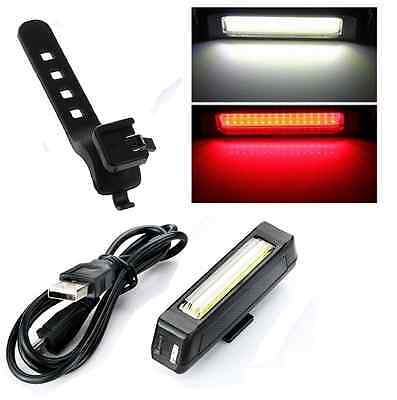 6 Modes LED Tail Light USB Rechargeable COB Bicycle Bike Front Rear Waterproof