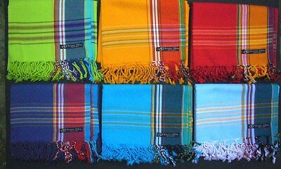 Kikoy Sarong Pareo Throw Wrap Broad Stripe, Blue Pink Green etc - Swimwear Beach