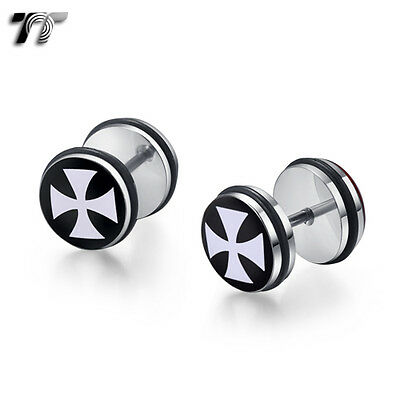 TT 10mm Clear Epoxy Stainless Steel Iron Cross Fake Ear Plug Earrings (BC01) NEW