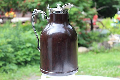 Thermos Thermos Stronglas Bakelite Desk Top Hot Cold Pitcher Chrome Retro Carafe