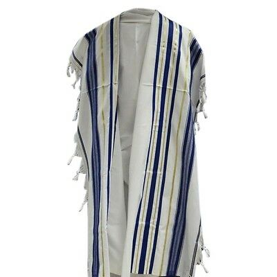 "Kosher Tallit Prayer Shawl  56"" X 73""(140Cm X 185Cm) Blue/Gold Stripes Size #60"