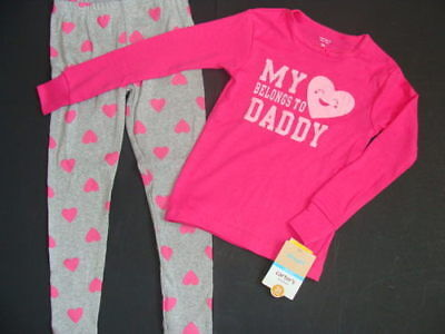NWT Girls Pink Cotton Carter's Pajamas Size 4T Love Dad Pjs Heart Leggings NEW