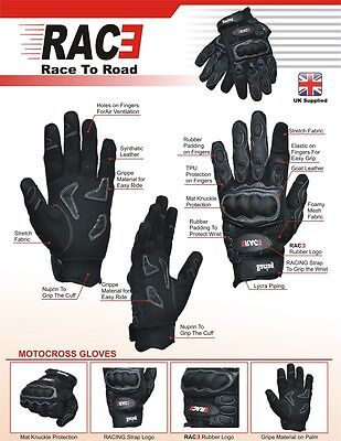 RAC3 Motorcycle Enduro Racing Motorbike Motocross Gloves Full Finger Protective