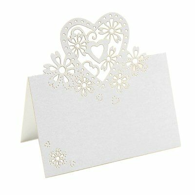 50ps White Love Heart Laser Cut Wedding Party Table Name Place Cards Favor ED