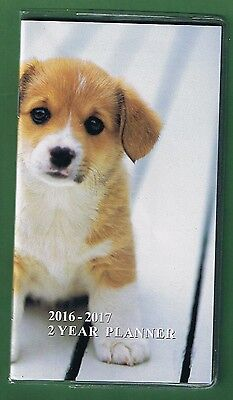 Puppy Dog  2016-2017 - 2 Year Pocket Calendar Agenda Planner Appointment Book *w