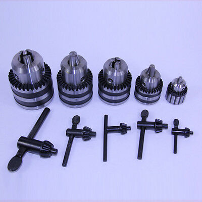 5 Pc Heavy Duty Drill Chuck & Key Set 6mm 3/8 1/2 5/8 3/4 Keyed JT