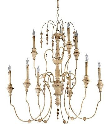 """37"""" Horchow French Cottage Antique White Maison XL Beaded Chandelier 04639 New!"""