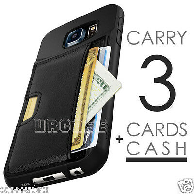 Luxury Leather Credit Card Holder Cash Pocket Case Cover For Samsung Galaxy S7