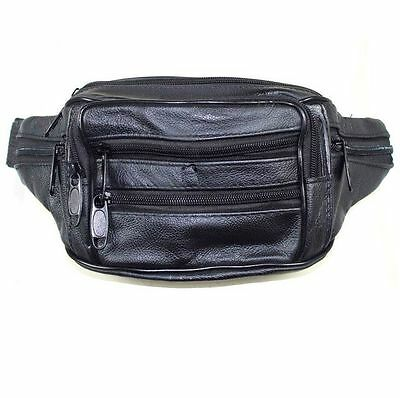 Black Leather Bum Bag Wallet Waist Pouch Travel Mobile Phone Pocket New