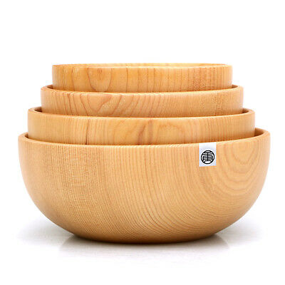 Handmade Japanese Wood Bowls Flat Serving Food Soup Rice Noodle Woodware NEW