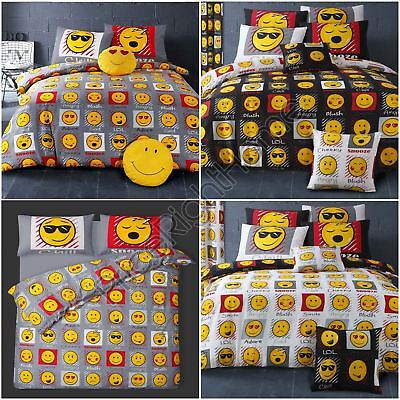 Emoji Expressions Duvet Cover Sets Bedding - Grey & Black - Single & Double