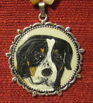 Greater Swiss Mountain Dog hand painted on round, metal pendant/bead/necklace