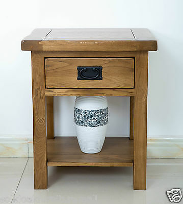 Original Rustic Oak Bedside Cabinet with One Drawer & Open Shelf / Lamp Table