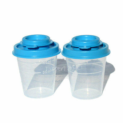 Tupperware NEW Small Midget Salt an Pepper Shakers Blue Picnic Camping Lunch box
