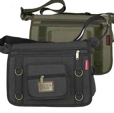 Satchel Messenger Canvas Bag Black Grey Taupe Shoulder or Cross Body Mens Ladies