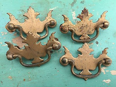 Antique 4 Matching Victorian Ornate Pattern Drawer Pull Plate & Handle Lot As