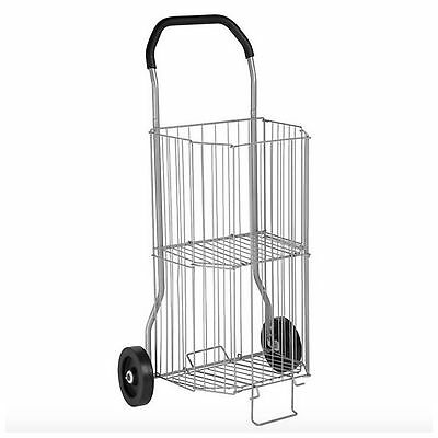 Rolling Wire Grocery Shopping Laundry Storage Utility Cart Basket Wheels Folding