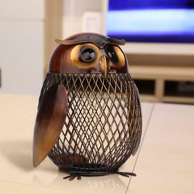 Owl Art Sculpture Coin Saver Box Money Pot Handmade Home Decor Piggy Bank G7N2