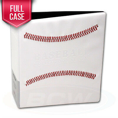 """Case of 12 BCW Baseball Card Albums White w/ Red Stitch 3"""" D-Ring Albums binders"""