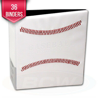 """36 BCW Baseball Card Albums White w/ Red Stitch 3"""" D-Ring Albums binders books"""