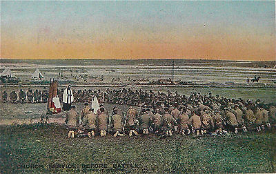 VINTAGE POSTCARD:WW1.DAILY MAIL BATTLE PICTURES:CARD.No3.CHURCH SERVICE.
