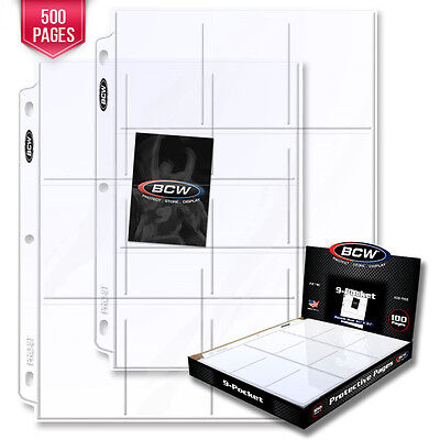 500 BCW Pro 9-Pocket Pages - Holds Nine (9) - 2 1/2 x 3 1/2 Cards or Photos