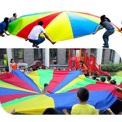 6ft 8 Handle Kids Child Play Rainbow Parachute Outdoor Game Exercise Sports Toy