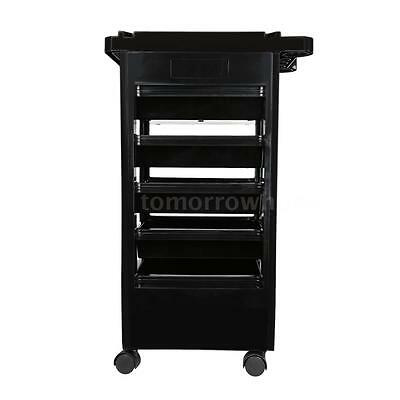 Hairdresser Trolley 5 Drawers Barber Hair Rolling Cart Salon Tool Black V8O4