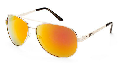 KHAN Metal Aviator Men's Sunglasses W/Color Mirror Lens