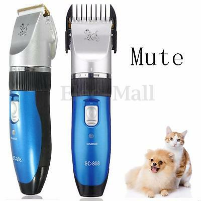 Pro Electric Mute Animal Pet Dog Cat Hair Trimmer Shaver Grooming Clipper Set
