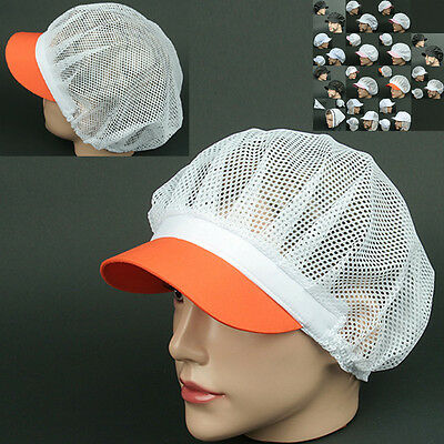 COOK full Mesh ORANGE WHITE chef catering baker Kitchen food factory worker Hat