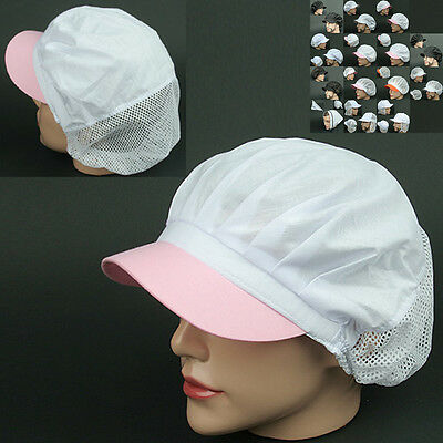 COOK half Mesh pink WHITE chef catering baker Kitchen factory worker Cap Hat