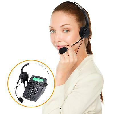 HT500 Office Desk Telephone With Corded Headset Call Center Phone Dial Pad S7J9