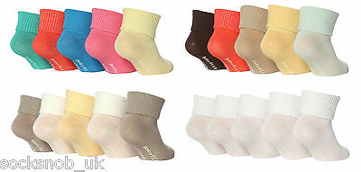 Baby Elle - Plain Turn over top socks for girls, (Pack of 5 pairs), BE04