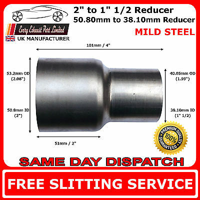 50mm to 38mm Mild Steel Standard Exhaust Reducer Connector Pipe Tube