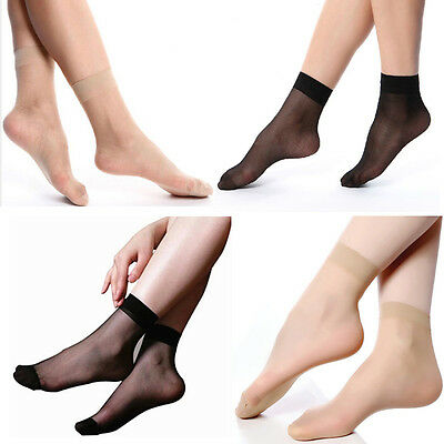 10 Pairs Women Ultra-thin Elastic Silky Short Stockings Short Silk Ankle Socks