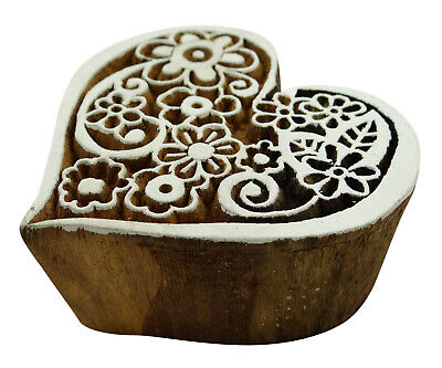 Hand Carved Heart Pattern Textile Wooden Handmade Wood Stamp Printing Block